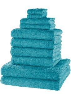 Комплект полотенец Нью Уни Делкюс (10 шт.) (сине-зеленый) Bonprix