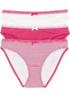 Трусики (3 шт.) (в полоску + ярко-розовый + кремовый) Bonprix