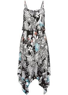 Платье с удлиненными краями (цвет белой шерсти/черный с узором) Bonprix