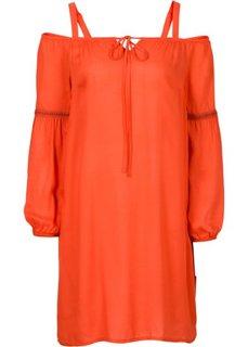 Платье с открытыми плечами (оранжевый матовый) Bonprix