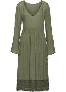 Платье с кружевом длины миди (оливковый) Bonprix