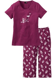 Пижама с брюками капри (красная ягода/белый) Bonprix