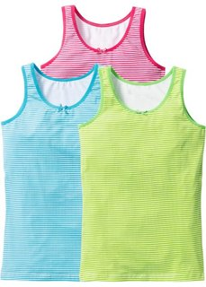 Майка (3 шт.) (ярко-розовый/бирюзовый/зеленый) Bonprix