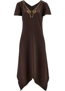 Платье с асимметричным подолом (темно-коричневый) Bonprix