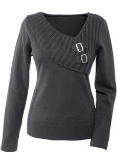 Пуловер с оригинальным дизайном (темно-серый) Bonprix