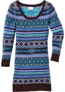 Вязаное платье (нежно-бирюзовый/темно-коричневый) Bonprix