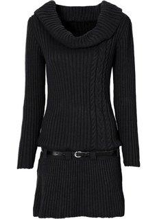 Трикотажное платье и ремень (черный) Bonprix