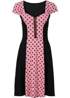 Платье со вставкой в горошек (коралловый/черный в горошек) Bonprix