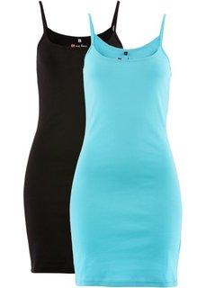 Трикотажное платье (2 штуки в упаковке) (аква + черный) Bonprix