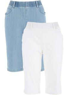 Бермуды стретч (2 пары в упаковке) (белый + голубой) Bonprix
