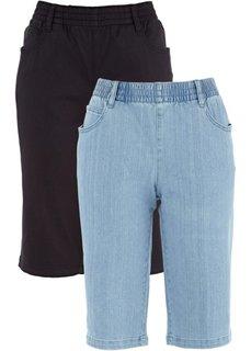 Бермуды стретч (2 пары в упаковке) (черный + голубой) Bonprix