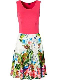 Трикотажное платье (горячий ярко-розовый с рисунком/с принтом) Bonprix