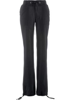 Льняные брюки с поясом в резинку (черный) Bonprix