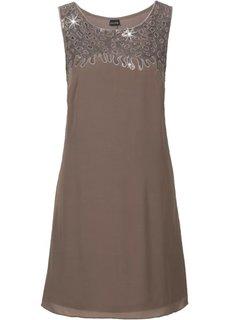 Платье с пайетками (оливковый) Bonprix