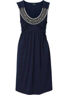 Трикотажное платье силуэта ампир (темно-синий) Bonprix