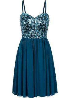 Шифоновое платье с пайетками (серо-синий) Bonprix
