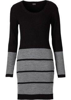 Трикотажное платье (черный/светло-серый меланж) Bonprix