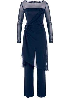 Вечерний брючный костюм (2 изделия) (темно-синий) Bonprix
