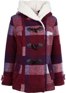 Полупальто с плюшевой подкладкой (темно-красный/лиловый в клетку) Bonprix