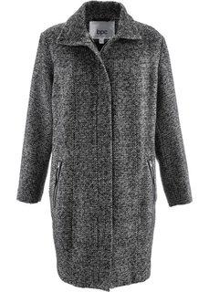 Пальто в дизайне под шерстяное (черный/серебристый меланж) Bonprix