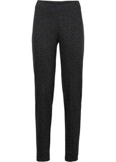 Эластичные жаккардовые брюки (черный/серый в «елочку») Bonprix