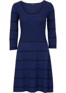 Вязаное платье (синий/черный в полоску) Bonprix