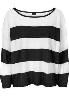 Прямой пуловер в стиле оверсайз короткой формы (черный/кремовый) Bonprix