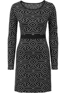 Вязаное платье (черный/серый меланж с узором) Bonprix