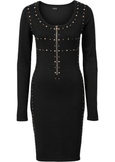 Вязаное платье с молнией и заклепками (черный) Bonprix