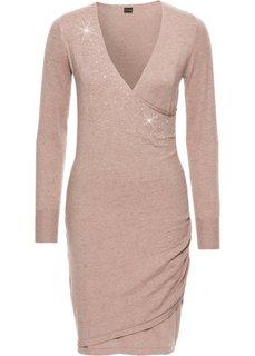Вязаное платье с аппликацией из стразов (светло-коричневый) Bonprix