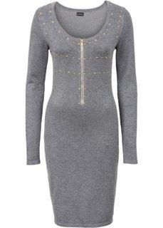Вязаное платье с молнией и заклепками (серый) Bonprix