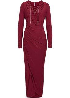 Платье с длинным рукавом (темно-красный) Bonprix