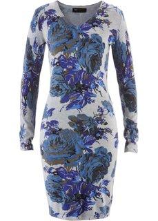 Вязаное платье (светло-серый меланж/небесно-голубой в цветочек) Bonprix
