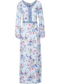 Макси-платье с разрезами на рукавах и кружевом (нежно-голубой в цветочек) Bonprix