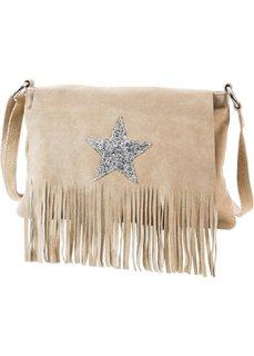 Кожаная сумка через плечо Звезда (песочный/серебристый) Bonprix