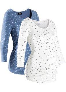 Для будущих мам: футболка из органического хлопка с принтом  (2 шт.) (синий джинсовый/белый с рисунком) Bonprix
