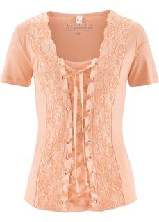 Кружевная футболка на шнуровке (светлый персиковый) Bonprix