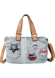 Джинсовая сумка с заклепками и заплатками (голубой) Bonprix