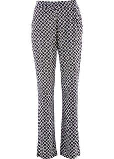 Трикотажные брюки-стретч (черный/белый с узором) Bonprix