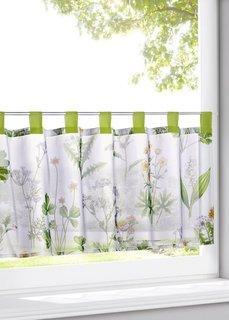 Кухонная штора Ботаника (белый/зеленый) Bonprix