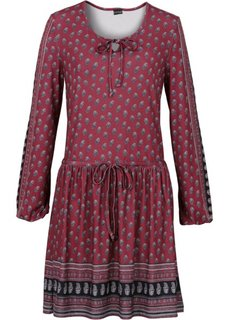 Платье с завязывающимися лентами (бордовый с узором) Bonprix