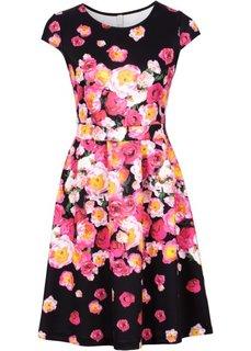 Платье в дизайне под неопрен (черный в цветочек) Bonprix