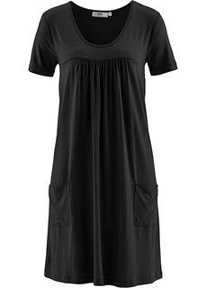 Трикотажное платье-блузон с коротким рукавом (черный) Bonprix