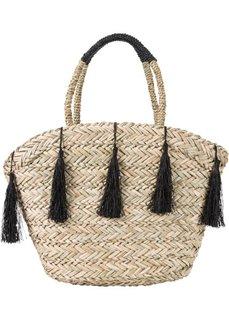 Соломенная сумка с кисточкой (черный/натуральный) Bonprix
