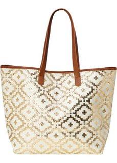 Пляжная сумка-шопер с металлическим отливом в этно-стиле (кремовый/золотистый/коричневый) Bonprix