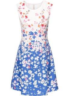 Платье из материала под неопрен (синий/кремовый с узором) Bonprix
