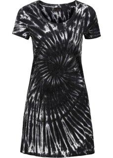 Трикотажное платье (черный батик/серый) Bonprix
