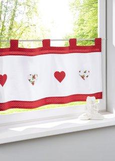 Кухонная штора Мила, петли (кремовый/красный) Bonprix