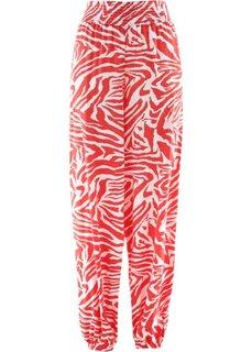 Широкие брюки (белый/коралловый с принтом) Bonprix