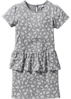 Платье с баской (светло-серый меланж с рисунком) Bonprix